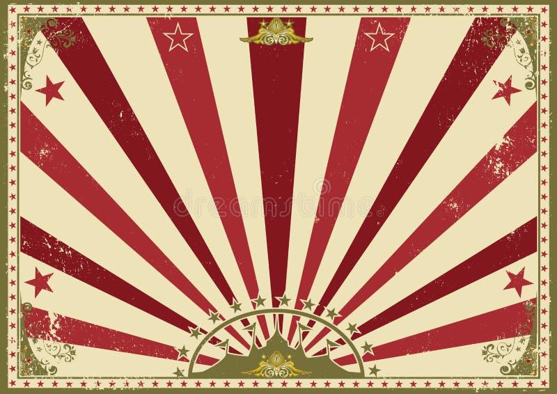 Οριζόντιο κόκκινο τσίρκο ηλιαχτίδων αφισών διανυσματική απεικόνιση