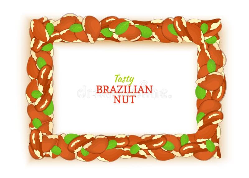 Οριζόντιο πλαίσιο ορθογωνίων που αποτελείται από το εύγευστο βραζιλιάνο καρύδι Διανυσματική απεικόνιση καρτών Πλαίσιο της Βραζιλί ελεύθερη απεικόνιση δικαιώματος