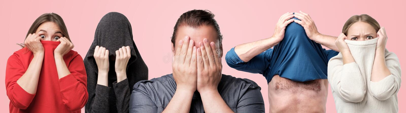 Οριζόντιο πορτρέτο κολάζ διάφορων ανδρών και γυναικών που κρύβουν τα πρόσωπά τους με τα χέρια ή τα ενδύματα στοκ φωτογραφίες με δικαίωμα ελεύθερης χρήσης
