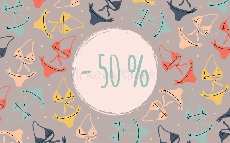 Οριζόντιο πρότυπο εμβλημάτων ή ιπτάμενων για τη διαφήμιση θερινής πώλησης με beachwear - μπικίνι Συρμένος χέρι επίπεδος ζωηρόχρωμ διανυσματική απεικόνιση