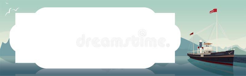 Οριζόντιο πρότυπο με το παλαιό σκάφος στη σαφή ημέρα διανυσματική απεικόνιση