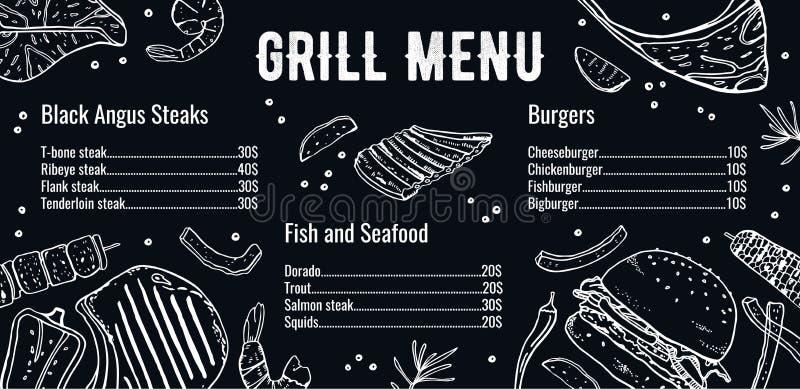 Οριζόντιο πρότυπο σχεδίου επιλογών σχαρών με τον κατάλογο κρέατος, ψαριών και burgers Διανυσματική συρμένη χέρι απεικόνιση σκίτσω ελεύθερη απεικόνιση δικαιώματος