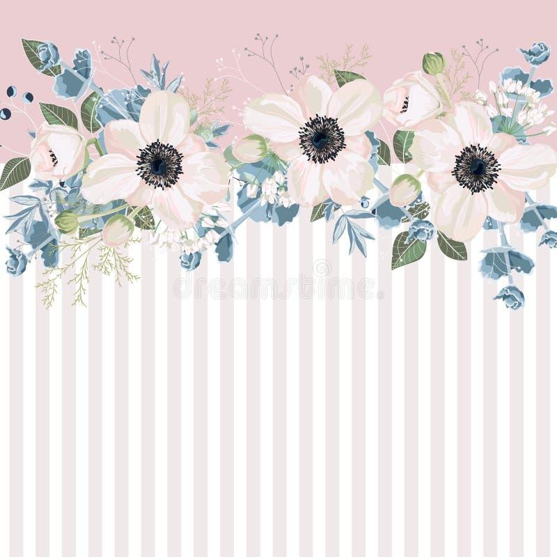 Οριζόντιο ριγωτό σχέδιο με τα άσπρους anemones, τα φύλλα, τον οφθαλμό και τα χορτάρια διανυσματική απεικόνιση