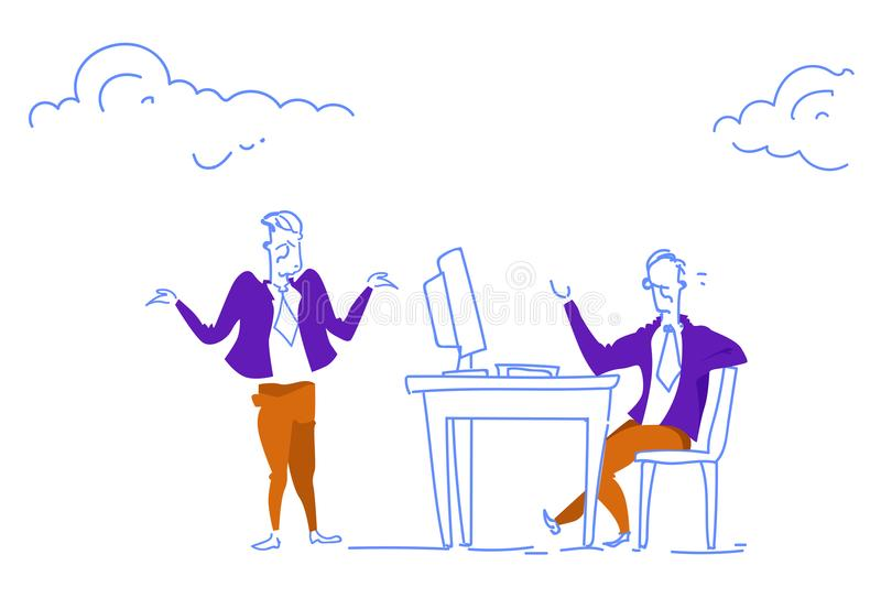 Οριζόντιο σκίτσο έννοιας επικοινωνίας προϊσταμένων και υπαλλήλων εργασιακών χώρων γραφείων γραφείων συνεδρίασης επιχειρηματιών do απεικόνιση αποθεμάτων
