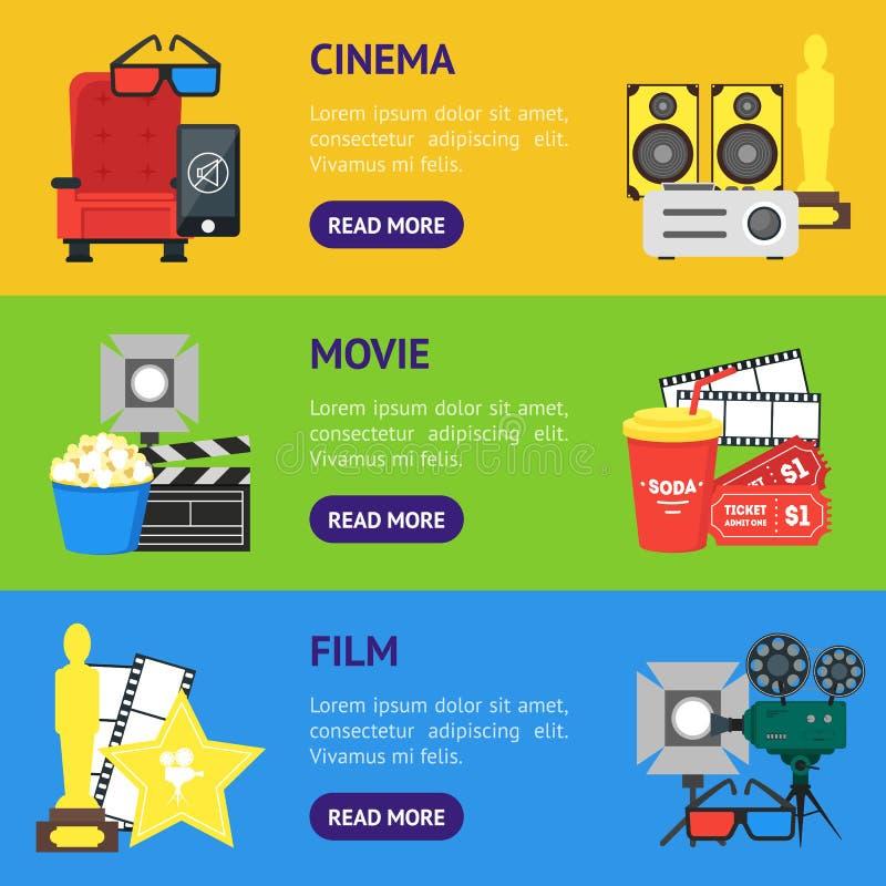 Οριζόντιο σύνολο εμβλημάτων κινηματογράφων κινούμενων σχεδίων διάνυσμα απεικόνιση αποθεμάτων