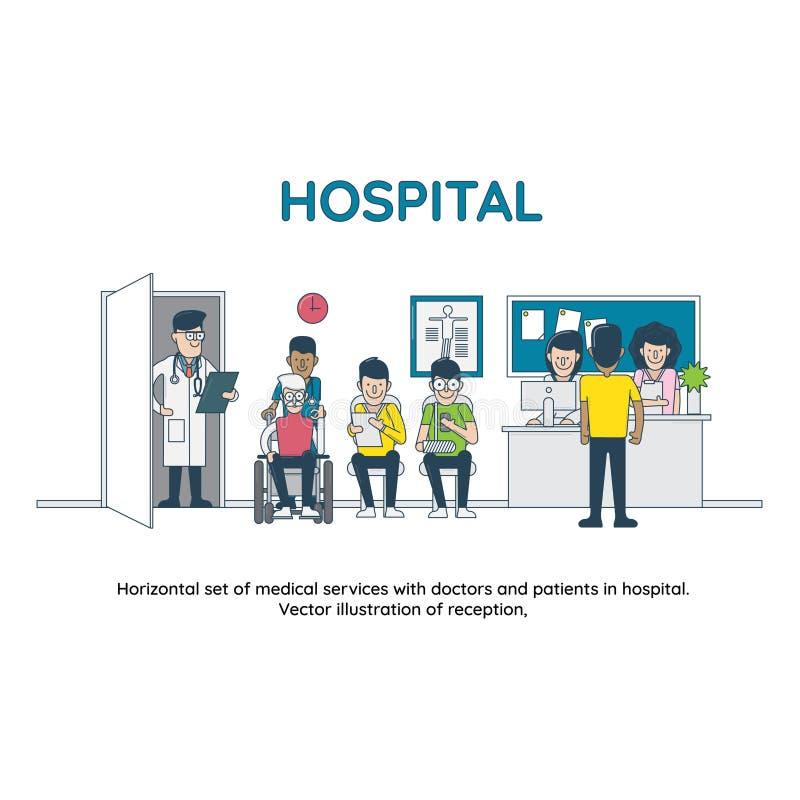 Οριζόντιο σύνολο ιατρικών υπηρεσιών με τους γιατρούς και τους ασθενείς στο νοσοκομείο διανυσματική απεικόνιση