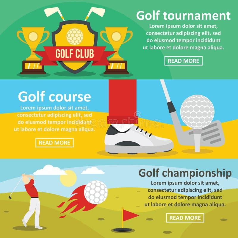 Οριζόντιο σύνολο εμβλημάτων πρωταθλημάτων γκολφ, επίπεδο ύφος ελεύθερη απεικόνιση δικαιώματος