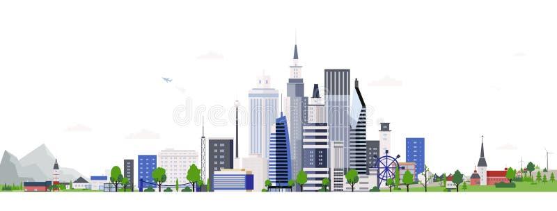 Οριζόντιο τοπίο με τα σύγχρονα ψηλά κτίρια της στο κέντρο της πόλης ή επιχειρησιακής περιοχής Εικονική παράσταση πόλης με τους ου ελεύθερη απεικόνιση δικαιώματος