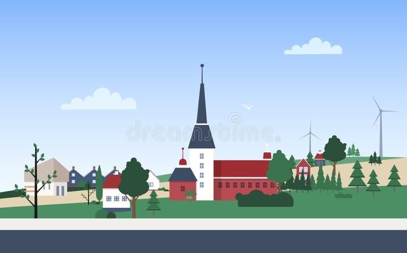 Οριζόντιο τοπίο με την πόλης γειτονιά με τα ιδιωτικά σπίτια ή τα κατοικημένα κτήρια, τον πύργο, το πάρκο και τους ανεμοστροβίλους ελεύθερη απεικόνιση δικαιώματος