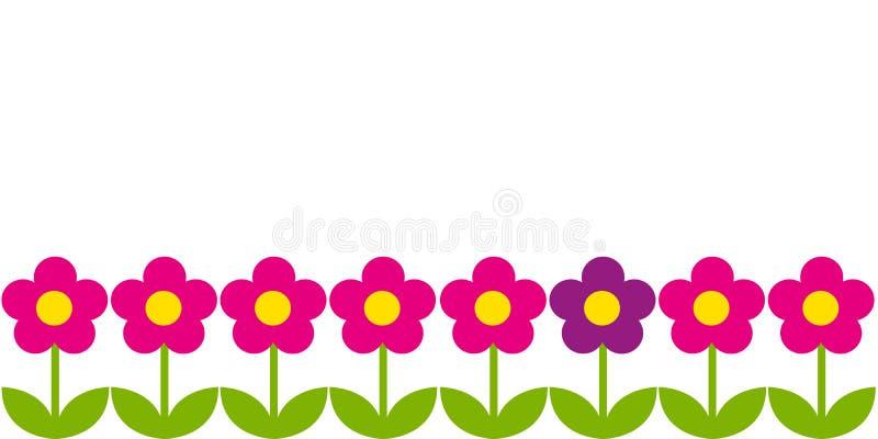 Οριζόντιο υπόβαθρο με τα ρόδινα λουλούδια διανυσματική απεικόνιση