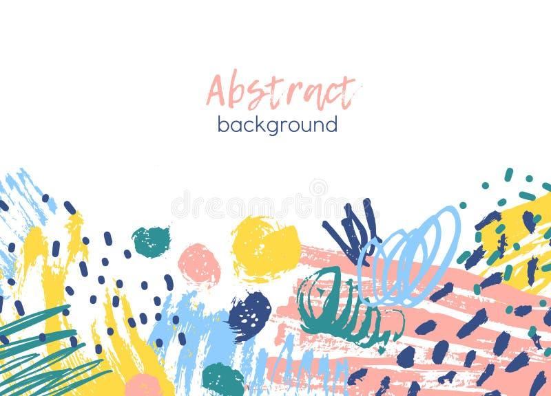 Οριζόντιο υπόβαθρο που διακοσμείται από τα ζωηρόχρωμα χαοτικά ίχνη χρωμάτων, brushstrokes, κακογραφία, επίχρισμα, λεκέδες, λεκέδε διανυσματική απεικόνιση
