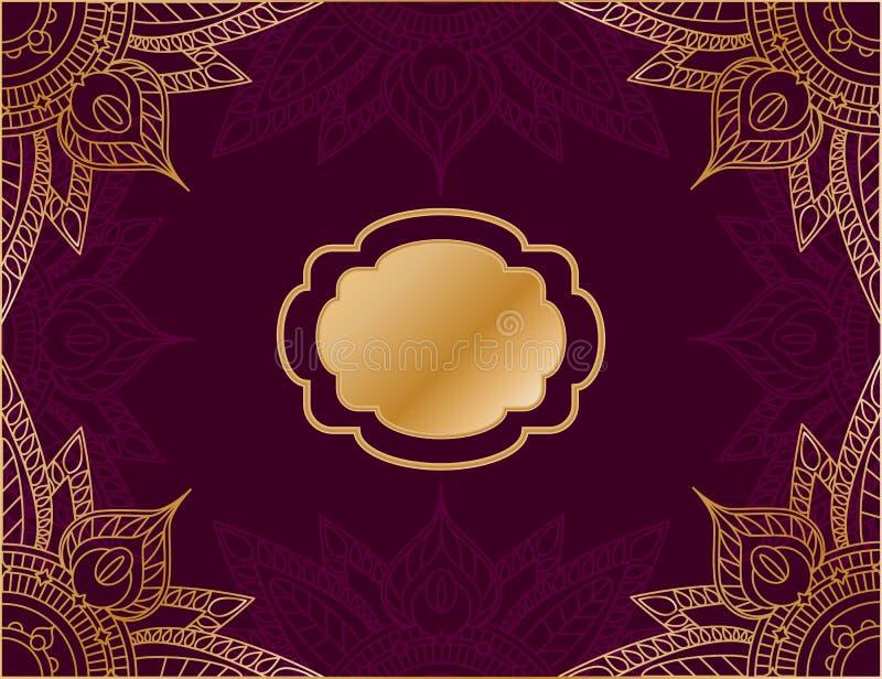 Οριζόντιο υπόβαθρο στο αραβικό ύφος, με το κόκκινο υπόβαθρο και τη χρυσή διακόσμηση mandala ελεύθερη απεικόνιση δικαιώματος