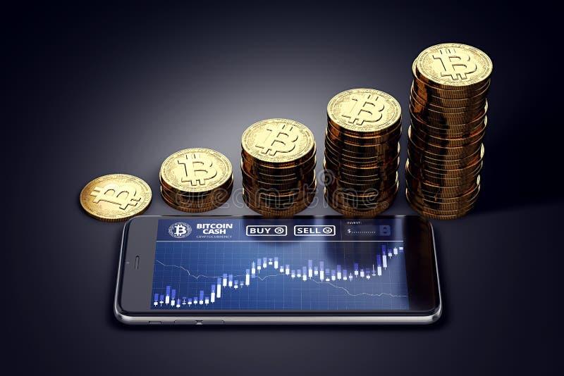 Οριζόντιο smartphone με ανάπτυξης διαγραμμάτων μετρητών Bitcoin τους επί της οθόνης και σωρούς των χρυσών νομισμάτων μετρητών Bit διανυσματική απεικόνιση