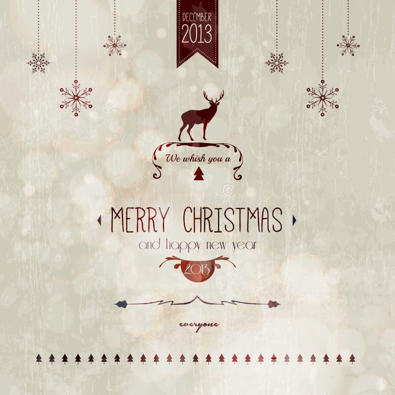 Ορισμένη τρύγος κάρτα Χριστουγέννων απεικόνιση αποθεμάτων