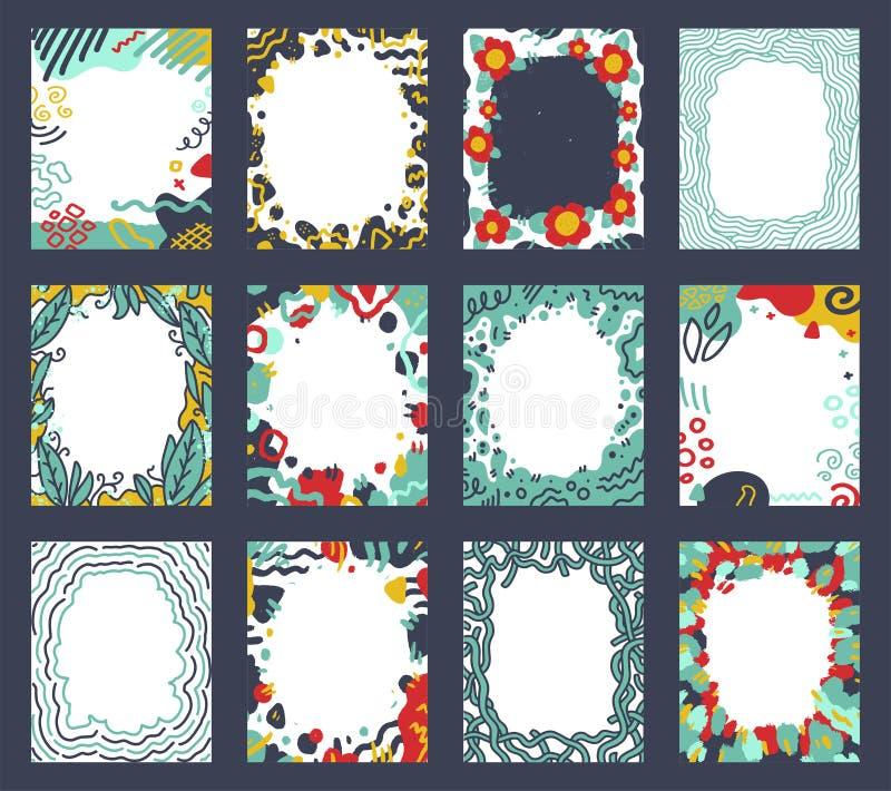 Ορισμός καρτών με αφηρημένο πρότυπο σχήματος σε στυλ τεραζίου Δημιουργική σχεδίαση για φυλλάδιο, εξώφυλλο, μέσα κοινωνικής δικτύω στοκ φωτογραφία