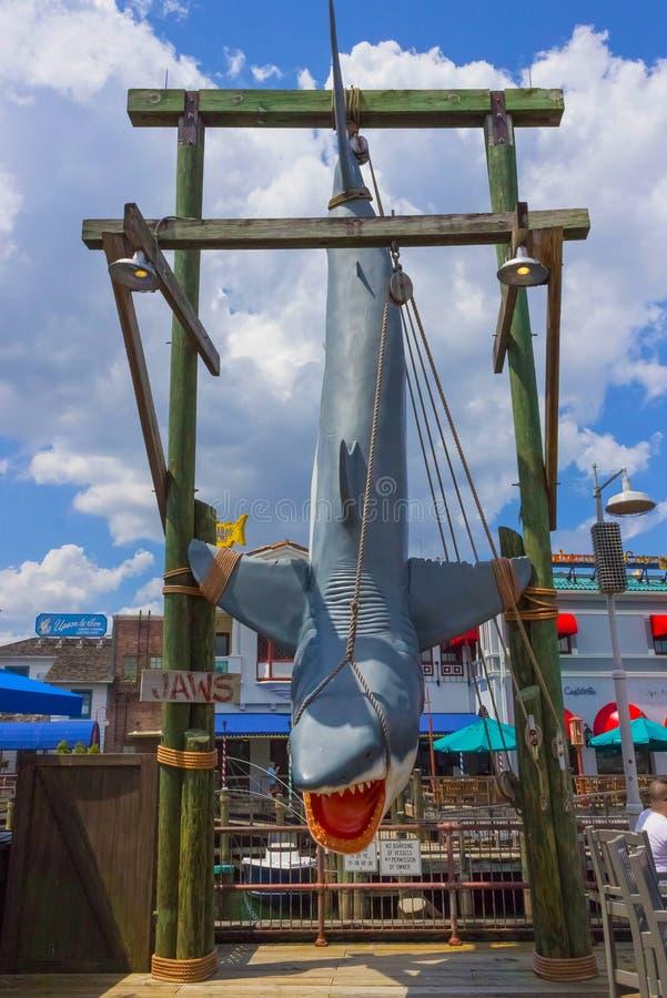 Ορλάντο, Φλώριδα, ΗΠΑ - 10 Μαΐου 2018: τα σαγόνια ενός καρχαρία στα UNIVERSAL STUDIO πάρκων Το Ορλάντο είναι ένα θέρετρο θεματικώ στοκ φωτογραφία