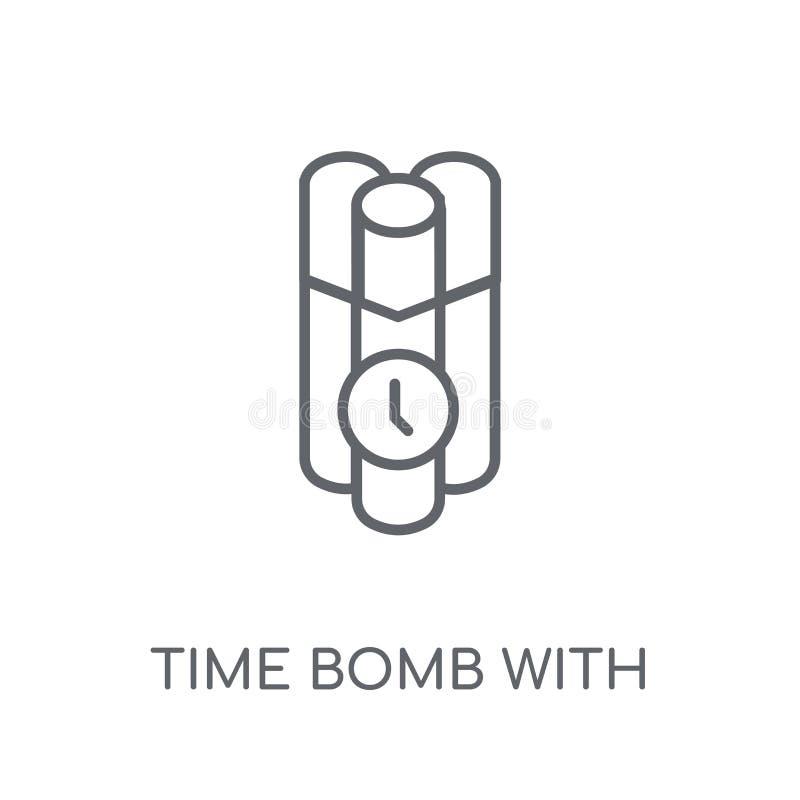 Ορολογιακή βόμβα με το γραμμικό εικονίδιο ρολογιών Σύγχρονη ορολογιακή βόμβα περιλήψεων με ελεύθερη απεικόνιση δικαιώματος