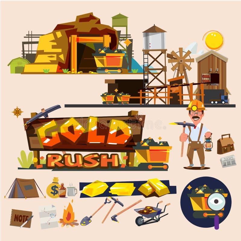 Ορυχείο χρυσού με τα γραφικά στοιχεία Σχέδιο χαρακτήρα ανθρακωρύχων χρυσό RU διανυσματική απεικόνιση