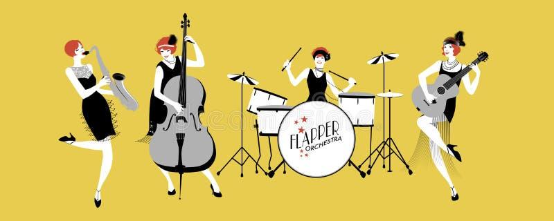 Ορχήστρα της γυναικείας Jazz Τέσσερα κορίτσια πτερυγίων που παίζουν τη μουσική ελεύθερη απεικόνιση δικαιώματος