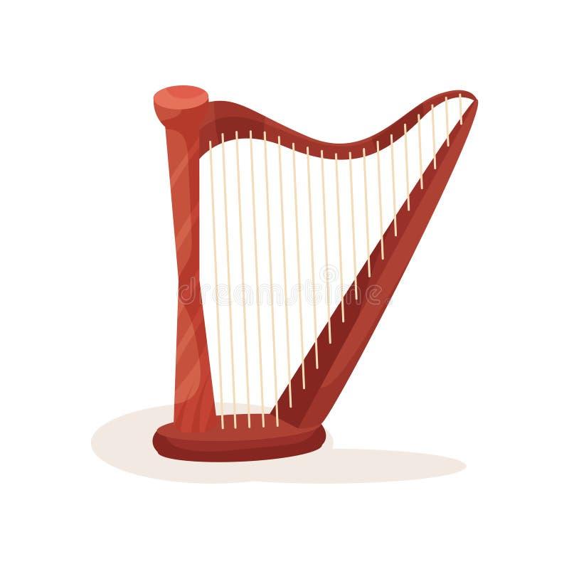 Ορχηστρική άρπα με τις ξύλινες σειρές πλαισίων και μετάλλων Μουσικό όργανο Stringed Επίπεδο διανυσματικό στοιχείο για το γεγονός  απεικόνιση αποθεμάτων