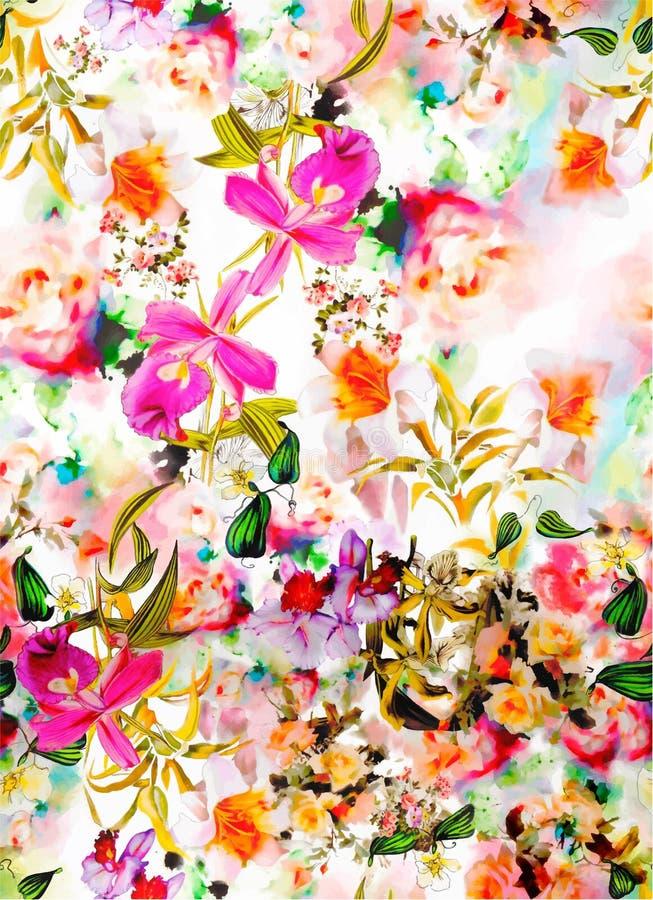 Ορχιδέα Cattleya και διακόσμηση λουλουδιών με τα κτυπήματα βουρτσών watercolor διανυσματική απεικόνιση