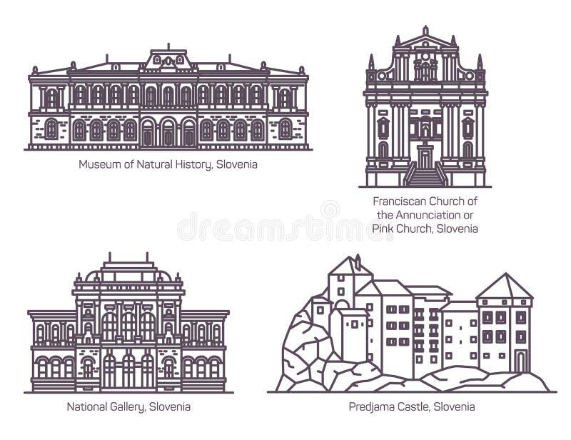 Ορόσημα αρχιτεκτονικής της Σλοβενίας στη λεπτή γραμμή διανυσματική απεικόνιση