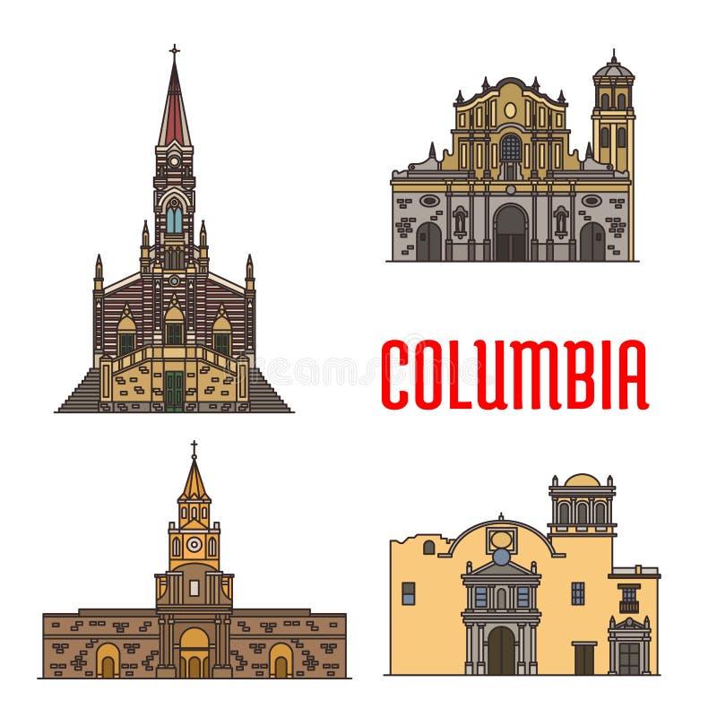 Ορόσημα αρχιτεκτονικής τουριστών της Κολομβίας διανυσματική απεικόνιση