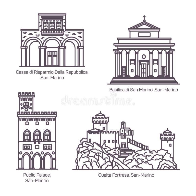 Ορόσημα αρχιτεκτονικής του Άγιου Μαρίνου στη λεπτή γραμμή απεικόνιση αποθεμάτων