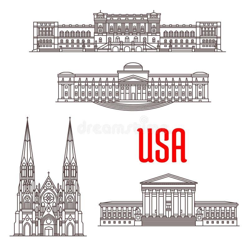 Ορόσημα αρχιτεκτονικής των ΗΠΑ διανυσματική απεικόνιση