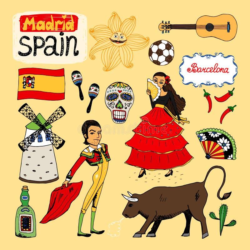 Ορόσημα και εικονίδια της Ισπανίας ελεύθερη απεικόνιση δικαιώματος