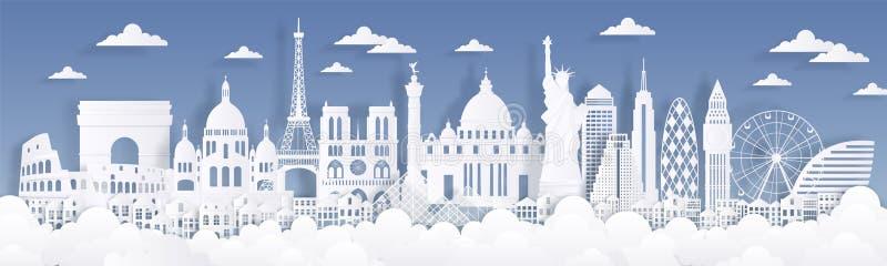 Ορόσημα περικοπών εγγράφου Ταξιδεψτε το παγκόσμιο υπόβαθρο, κάρτα διαφήμισης οριζόντων, σκιαγραφίες κτηρίων του Παρισιού Λονδίνο  διανυσματική απεικόνιση