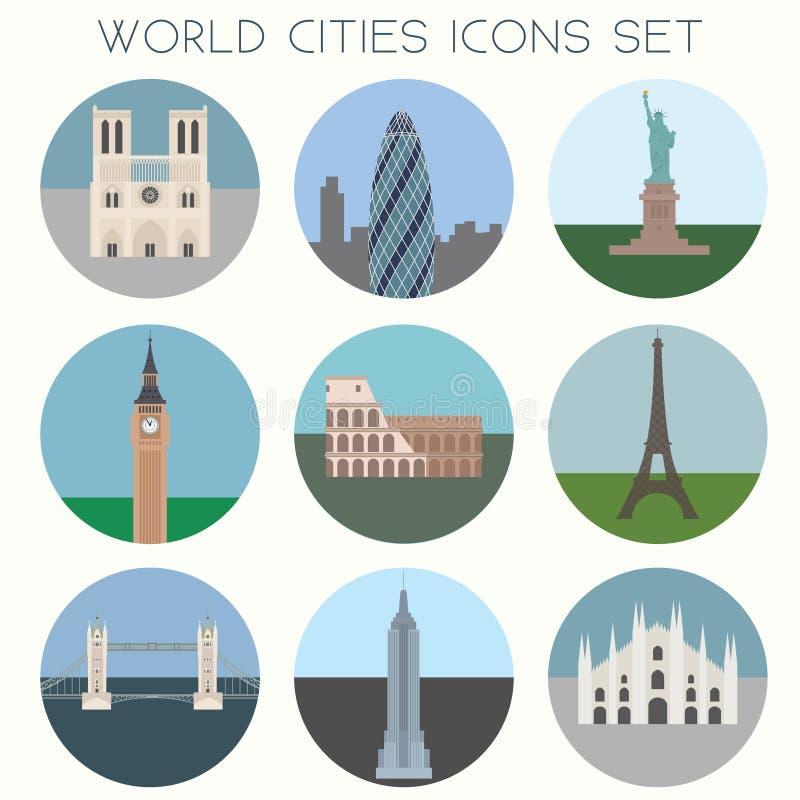 Ορόσημα & σύμβολα πόλεων PrintWorld - εικονίδια καθορισμένα διανυσματική απεικόνιση