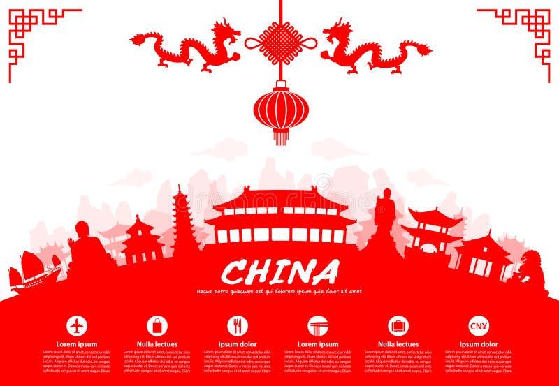 Ορόσημα ταξιδιού της Κίνας διανυσματική απεικόνιση