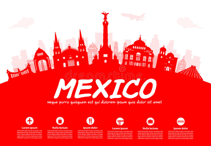 Ορόσημα ταξιδιού του Μεξικού απεικόνιση αποθεμάτων