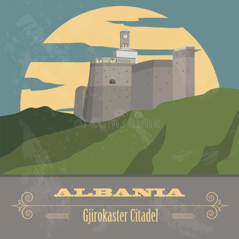 Ορόσημα της Αλβανίας Αναδρομική ορισμένη εικόνα απεικόνιση αποθεμάτων