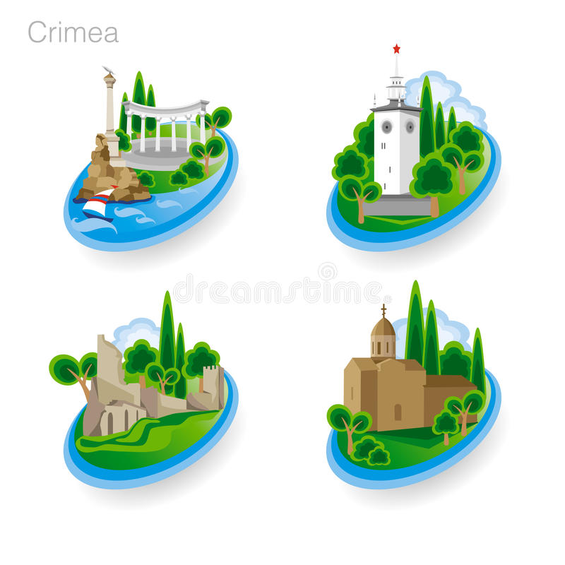 Ορόσημα της Κριμαίας Σύνολο εικονιδίων χρώματος επίσης corel σύρετε το διάνυσμα απεικόνισης ελεύθερη απεικόνιση δικαιώματος