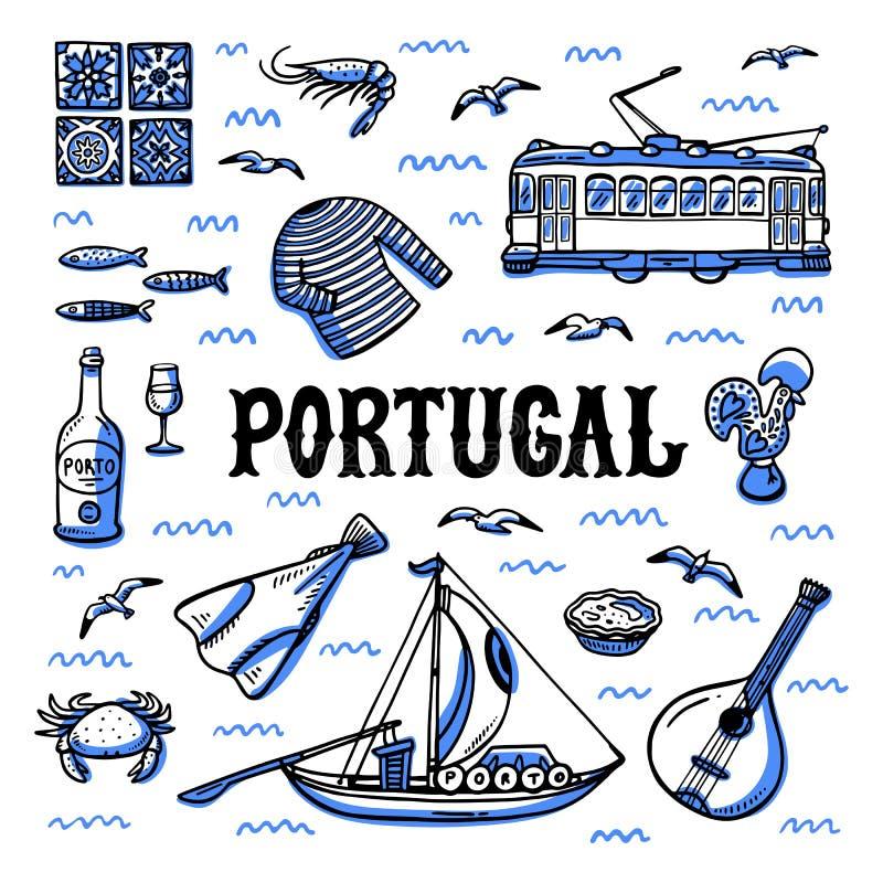 Ορόσημα της Πορτογαλίας καθορισμένα Handdrawn διανυσματική απεικόνιση ύφους σκίτσων ελεύθερη απεικόνιση δικαιώματος