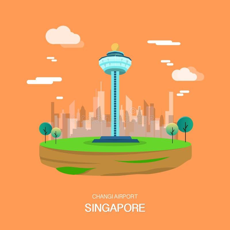 Ορόσημο αερολιμένων Changi στο σχέδιο illustrataion της Σιγκαπούρης ελεύθερη απεικόνιση δικαιώματος