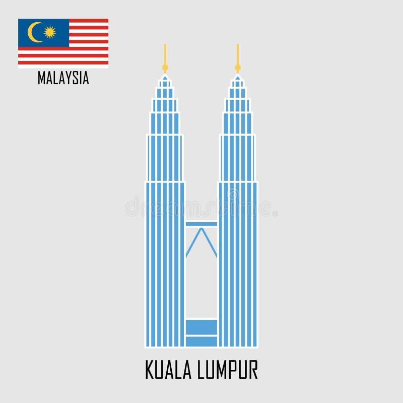 Ορόσημο της Μαλαισίας πύργοι petronas της Κουάλα Λουμπούρ διανυσματική απεικόνιση