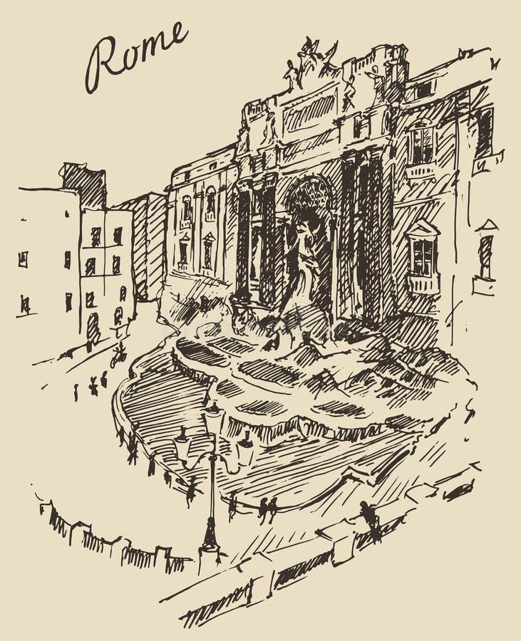Ορόσημο της Ρώμης χαραγμένο στο η Ιταλία χέρι που σύρεται απεικόνιση αποθεμάτων