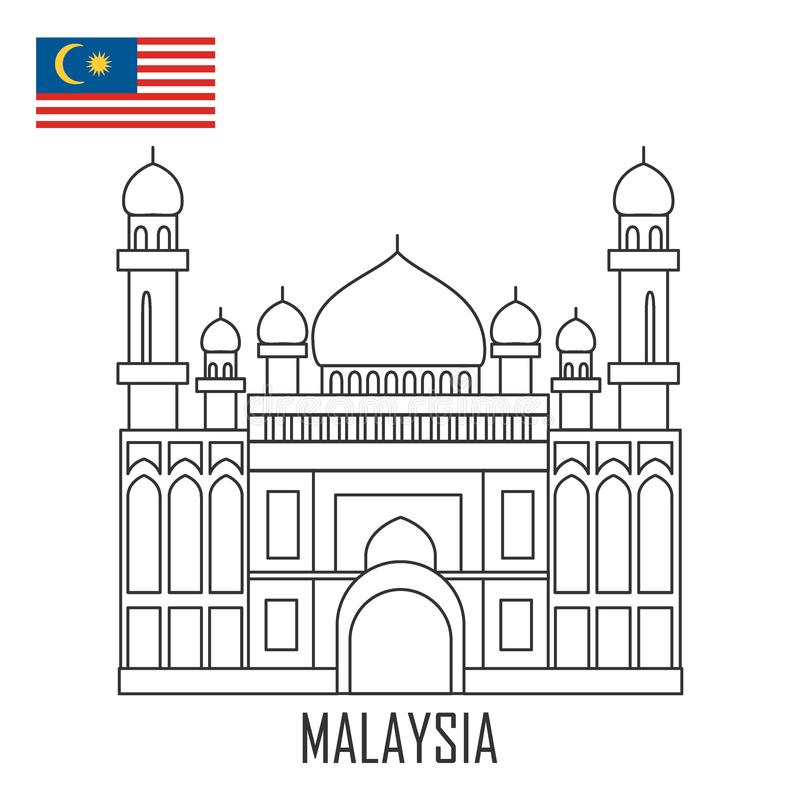 Ορόσημο του Μπρουνέι, Μαλαισία Το μεγάλο μουσουλμανικό τέμενος απεικόνιση αποθεμάτων