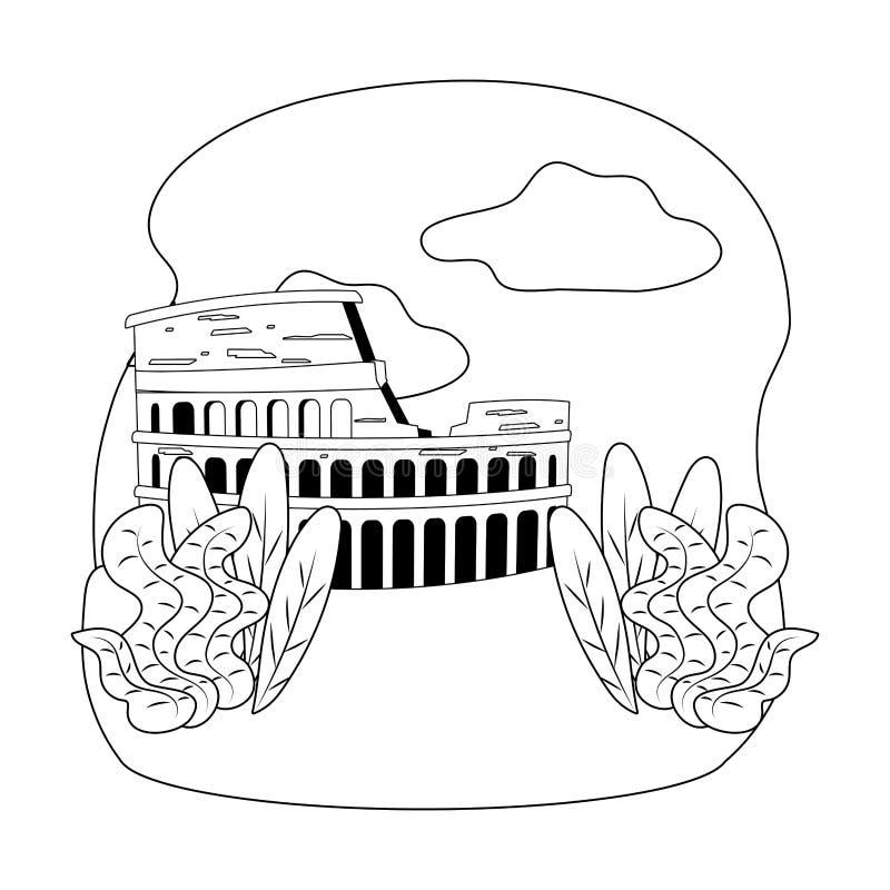 Ορόσημο Coliseum στο σχέδιο της Ρώμης ελεύθερη απεικόνιση δικαιώματος