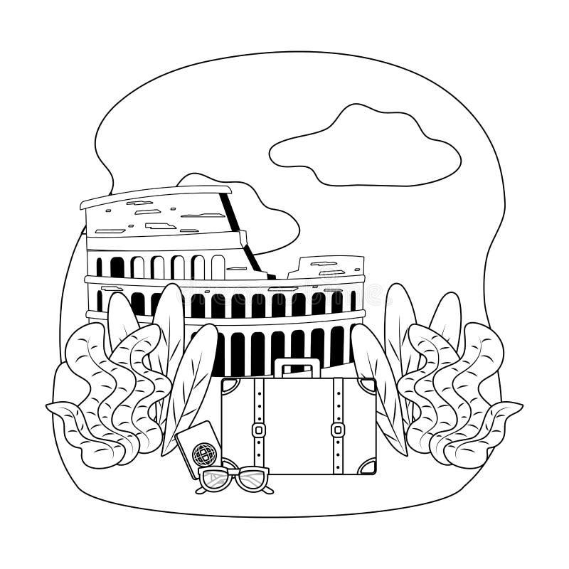 Ορόσημο Coliseum στο σχέδιο της Ρώμης απεικόνιση αποθεμάτων