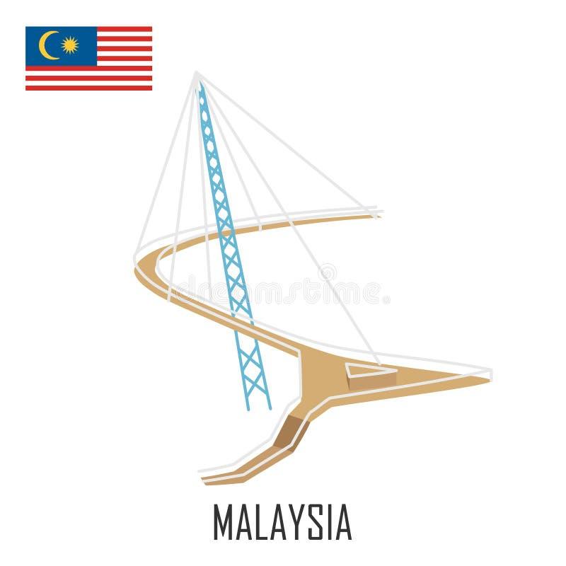 Ορόσημο Langkawi, Μαλαισία Γέφυρα ουρανού διανυσματική απεικόνιση