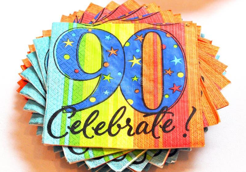 90ος γιορτάστε τις πετσέτες στοκ φωτογραφία με δικαίωμα ελεύθερης χρήσης