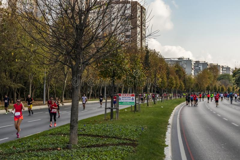 40ος διεθνής μαραθώνιος και αθλητές της Κωνσταντινούπολης στοκ εικόνα με δικαίωμα ελεύθερης χρήσης