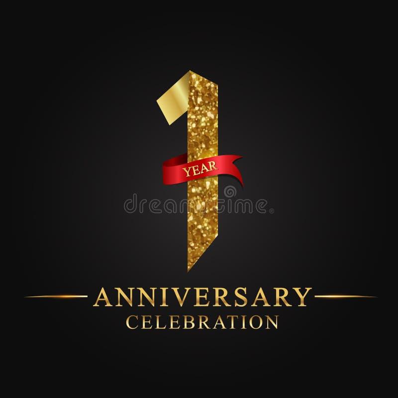 1$ος εορτασμός ετών επετείου logotype Χρυσός αριθμός κορδελλών λογότυπων και κόκκινη κορδέλλα στο μαύρο υπόβαθρο ελεύθερη απεικόνιση δικαιώματος
