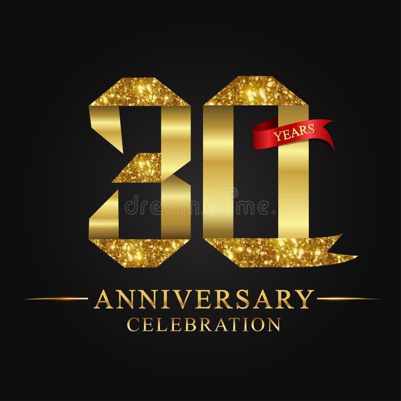 30ος εορτασμός ετών επετείου logotype Χρυσός αριθμός κορδελλών λογότυπων και κόκκινη κορδέλλα στο μαύρο υπόβαθρο διανυσματική απεικόνιση