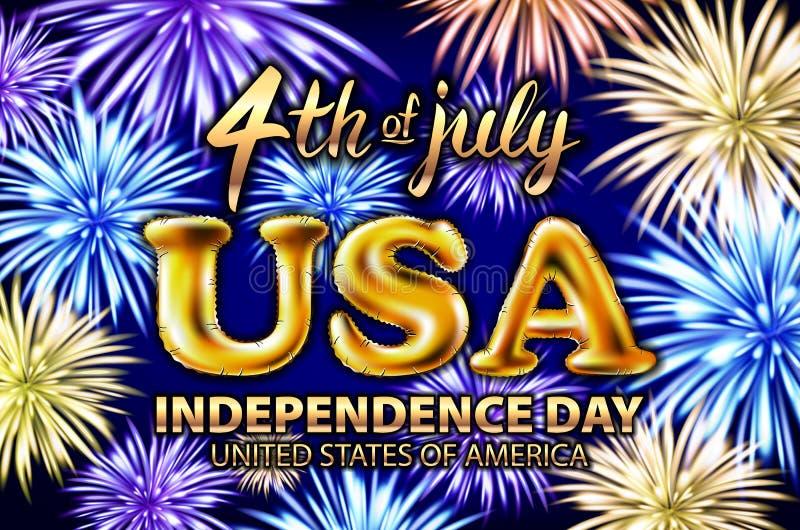 4ος ΗΠΑ Ιουλίου του χρυσού σχεδίου αφισών ημέρας της ανεξαρτησίας μπαλονιών ευτυχούς, του εμβλήματος με τα πυροτεχνήματα και του  απεικόνιση αποθεμάτων