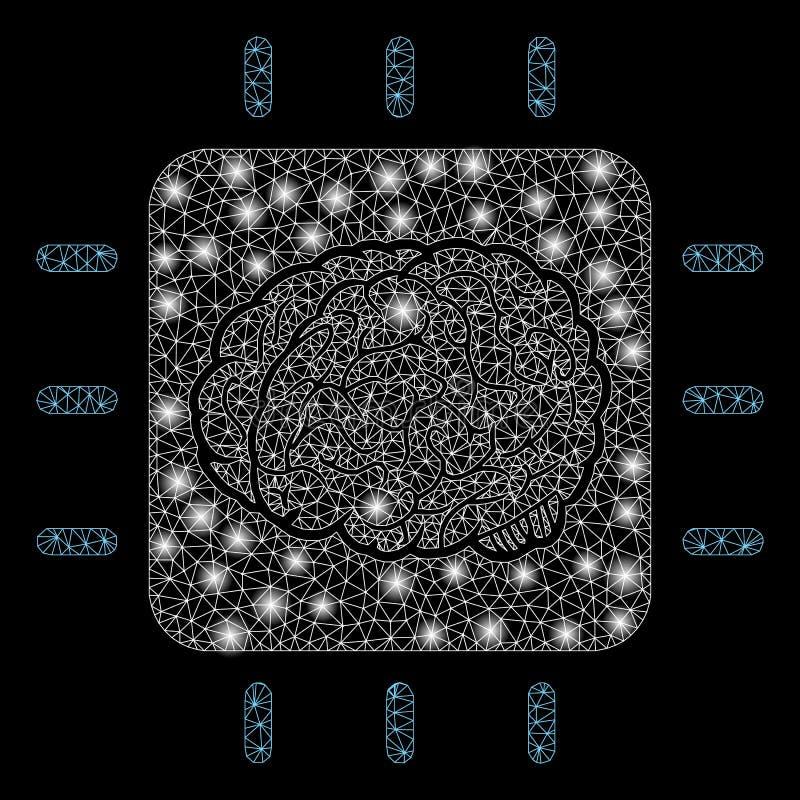 2$ος νευρικός επεξεργαστής πλέγματος φλογών με τα σημεία φλογών απεικόνιση αποθεμάτων